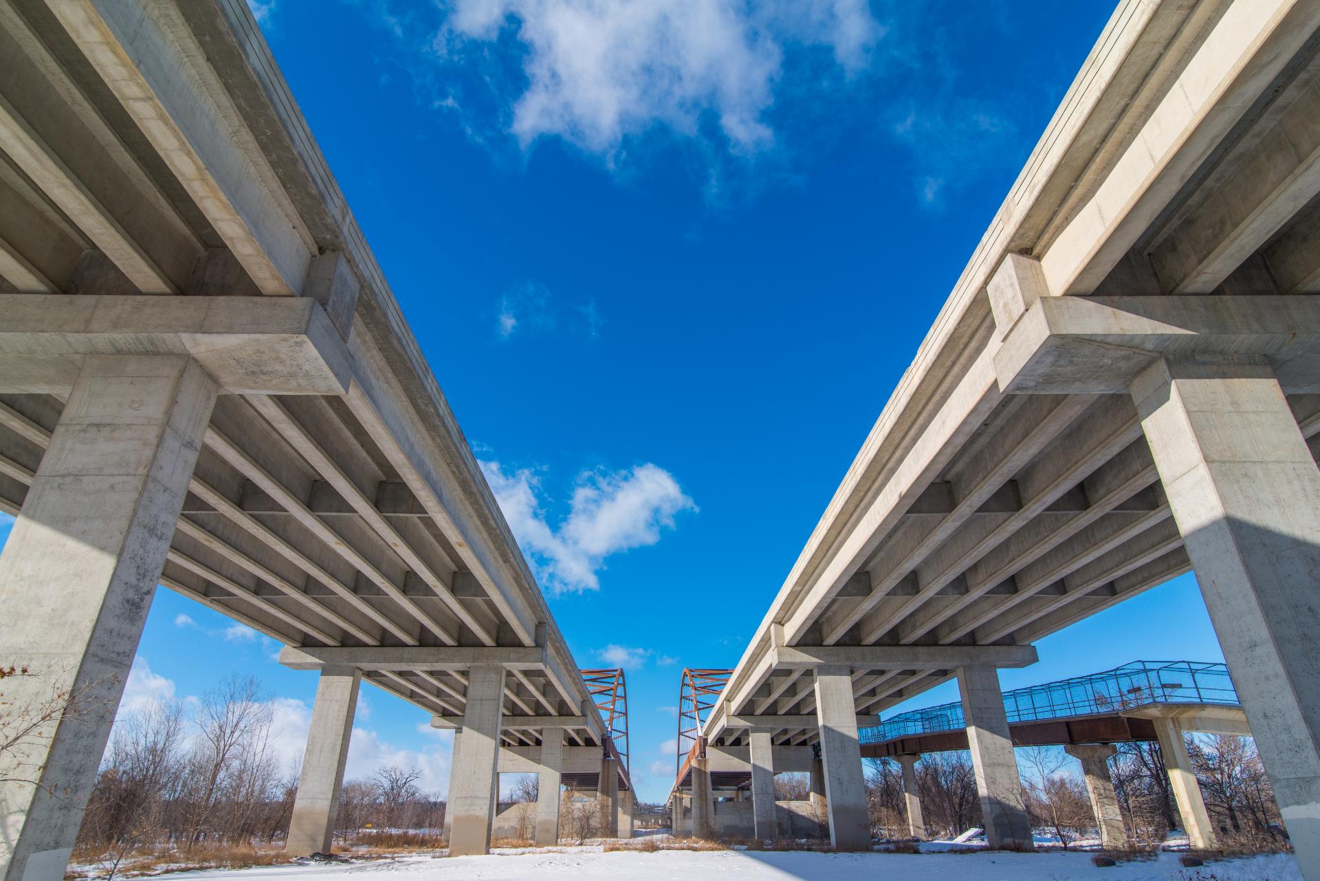 two concrete bridges